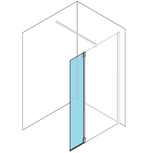 Volet pivotant kuadra ha h2 37cm verre transparent profil s chrom novellin - Paroi douche fixe avec volet pivotant ...