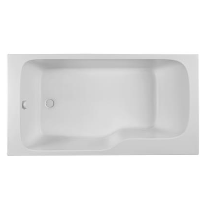 Bain douche malice 160x85cm version gauche blanc jacob for Baignoire fond plat