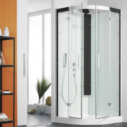 cabine de douche 1 4 de rond horizon r receveur standard portes coulissantes perle noire. Black Bedroom Furniture Sets. Home Design Ideas