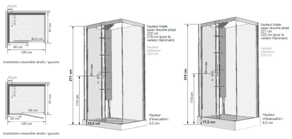cabine de douche horizon 120 receveur faible hauteur porte
