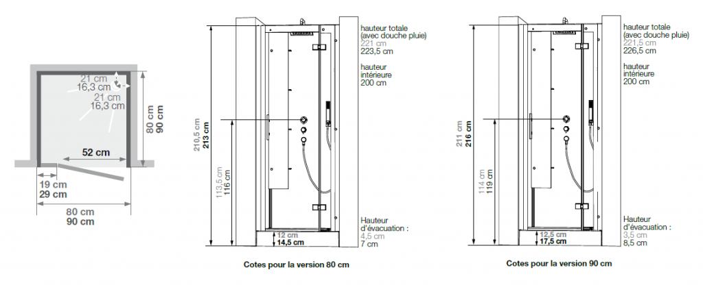 Cabine de douche horizon niche 80x80 faible hauteur porte pivotante acier k - Cabine de douche hauteur 180 cm ...