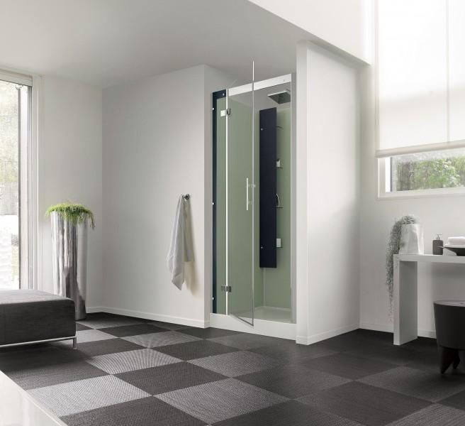 Cabine de douche horizon niche 80x80 faible hauteur porte for Porte de douche 80x80