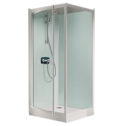 cabine de douche kineprime glass 100 angle 100x80 porte pivotante mitigeur thermostatique. Black Bedroom Furniture Sets. Home Design Ideas