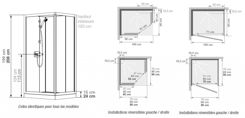 Cabine de douche kineprime glass c angle 80x80 portes coulissantes mitigeur t - Cabine de douche d angle 80x80 ...