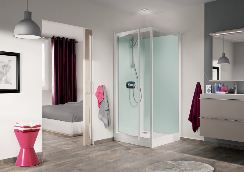 cabine de douche kineprime glass c angle 90x90 porte pivotante mitigeur thermostatique receveur. Black Bedroom Furniture Sets. Home Design Ideas