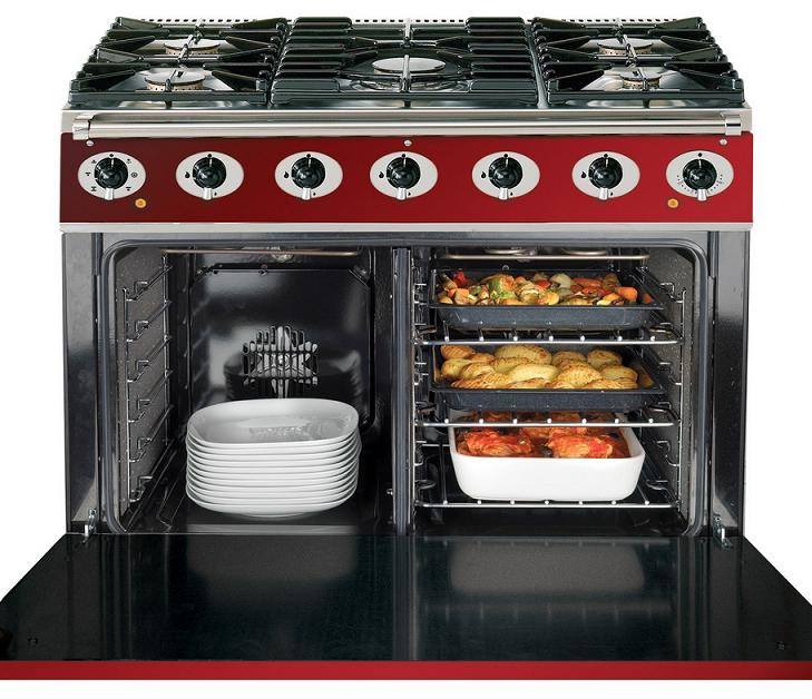 Cuisini re 90cm falcon 900s deluxe rouge cerise grilles for Plaque de cuisson grande largeur