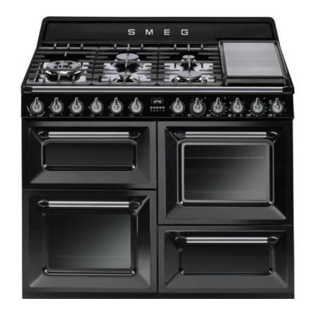 cuisini re 110cm victoria 2 fours vapor clean 63l 1 gril 7 br leurs gaz noir smeg r f. Black Bedroom Furniture Sets. Home Design Ideas
