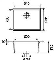 cuve sous plan quadrille 53x44 luisigranit grismetal luisina r f evsp987022e. Black Bedroom Furniture Sets. Home Design Ideas