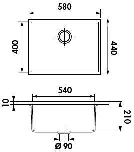cuve sous plan quadrille 58x44 luisigranit grismetal luisina r f evsp985022e. Black Bedroom Furniture Sets. Home Design Ideas