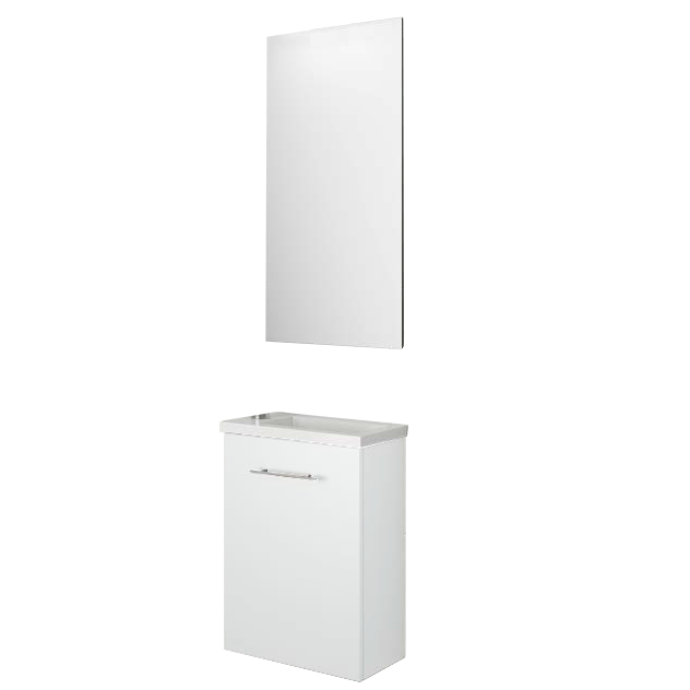 Ensemble meuble micro 40cm 1 porte blanc vasque miroir for Meuble porte vasque