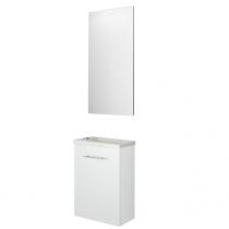 Ensemble meuble Micro 40cm 1 porte Blanc + vasque + miroir - SALGAR Réf. 22518