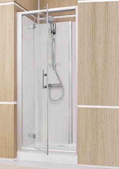 Espace douche ferm access confort niche 121x81 fond blanc vitrage transparent leda r f - Douche en circuit ferme ...