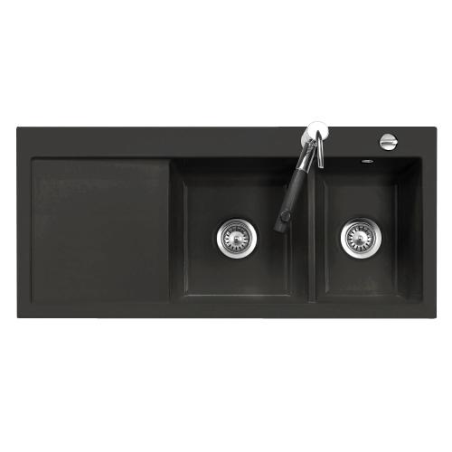 evier 2 cuves droite amor 110x51 avec gouttoir luisic ram nigra luisina r f ev5078d218. Black Bedroom Furniture Sets. Home Design Ideas