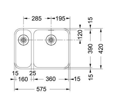 Evier sous plan 2 cuves largo lax160 575 x 420 inox franke r f 102336 - Evier sous plan franke ...
