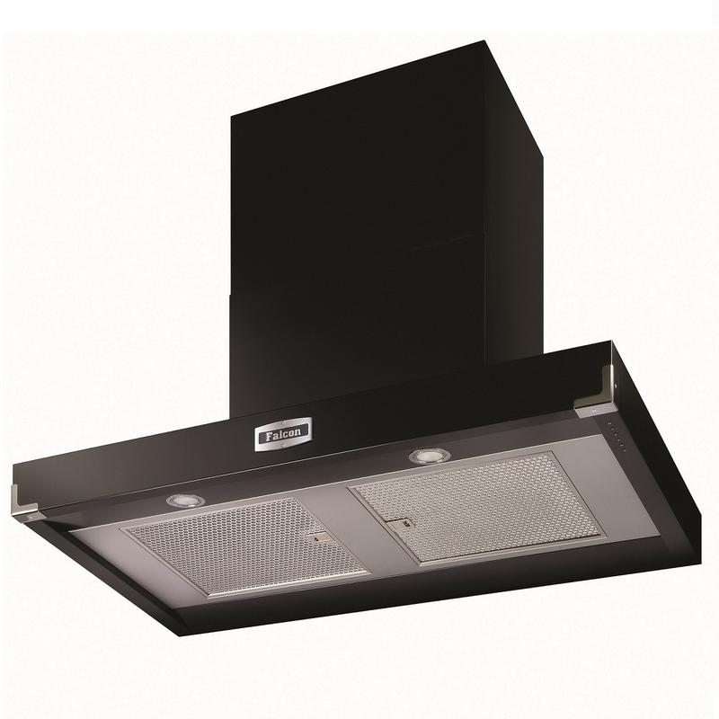 hotte d corative falcon contemporaine plate noir chrom fhdct900bl c 90cm 1000m3 h. Black Bedroom Furniture Sets. Home Design Ideas