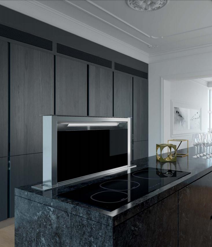 hotte plan de travail elina 90cm 700m3 h inox verre noir. Black Bedroom Furniture Sets. Home Design Ideas