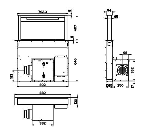 Hotte plan de travail elina 90cm 700m3 h inox verre noir for Dimension hotte plan de travail