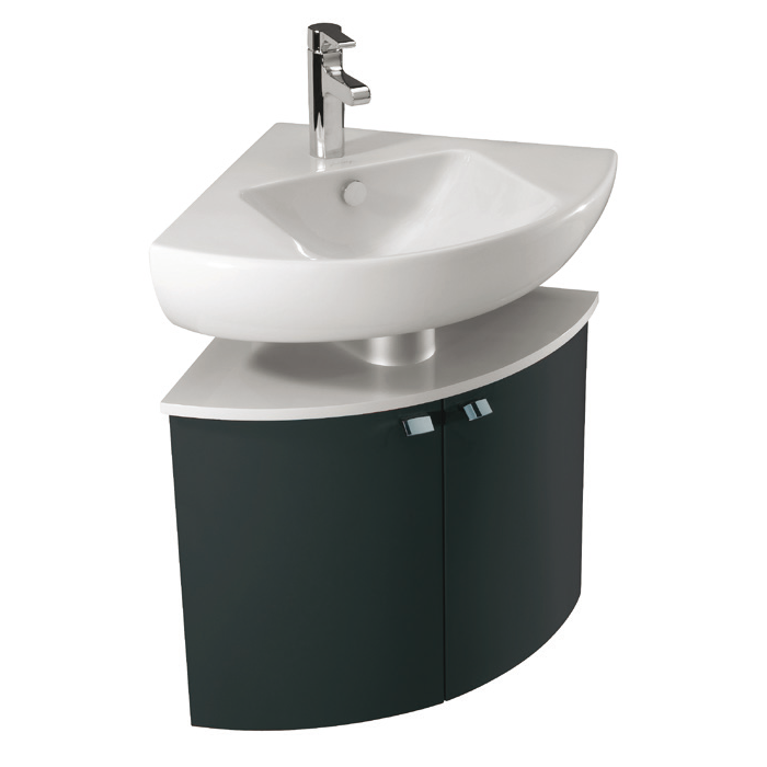 Meuble d 39 angle pour lavabo od on up l 68 2 portes laque - Meuble d angle gris ...