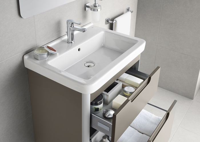 Promo meuble et lavabo dama n 45cm 1 porte ouverture for Salle de bain kaki