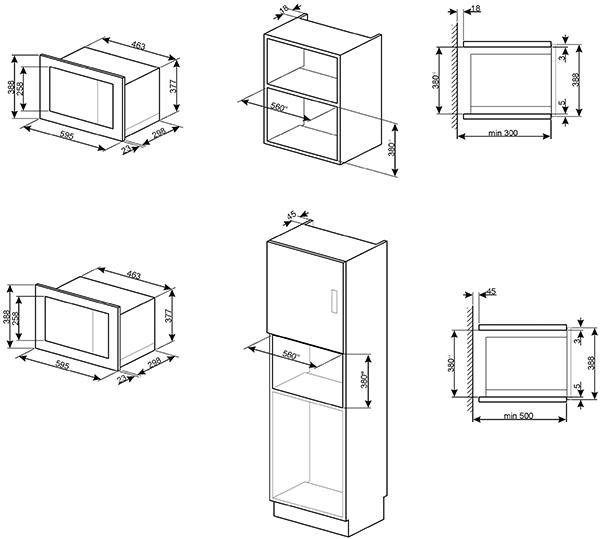 Micro ondes grill encastrable 17l 800w inox smeg r f - Micro onde grill encastrable ...