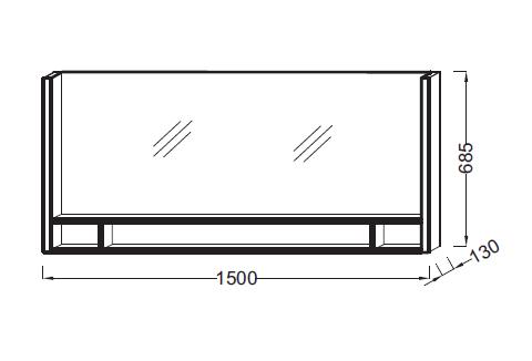 Miroir terrace l 150 avec tag re bois massif jacob - Miroir avec etagere salle bain ...