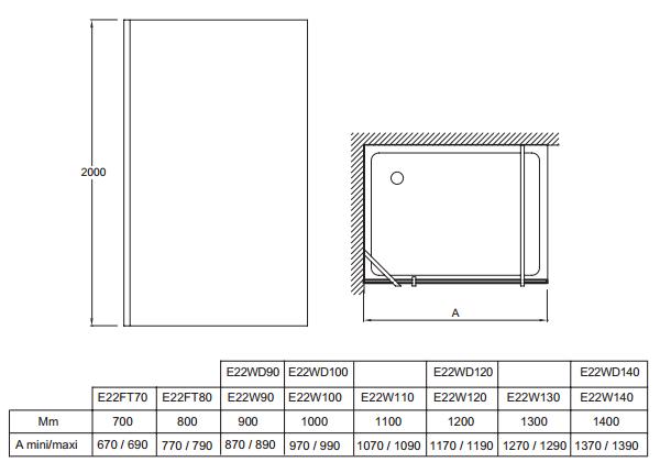 paroi fixe contra 70cm verre transparent profil chrom jacob delafon r f e22ft70 ga. Black Bedroom Furniture Sets. Home Design Ideas