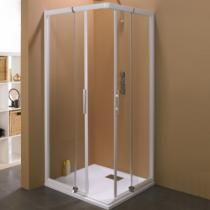 Porte coulissante java sans seuil 85 92cm profil blanc verre transparent kinedo r f pa625btne for Porte sans seuil