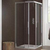 Porte coulissante java sans seuil 85 92cm profil chrom verre transparent kinedo r f pa625ctne for Porte sans seuil