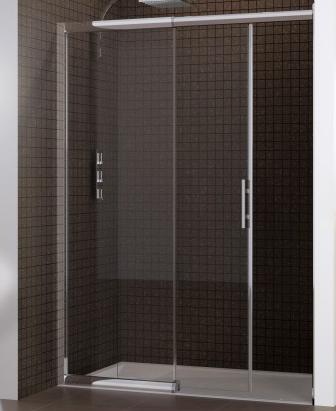 Porte coulissante macao sans seuil 115 125cm partie fixe gauche profil chrom verre transparent for Porte sans seuil