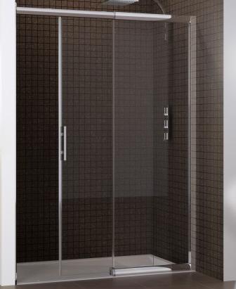 Porte coulissante macao sans seuil 125 142cm partie fixe droite profil blanc verre d poli for Porte sans seuil
