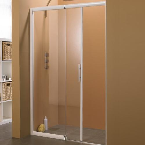 Porte coulissante macao sans seuil 125 142cm partie fixe gauche profil blanc verre transparent for Porte sans seuil