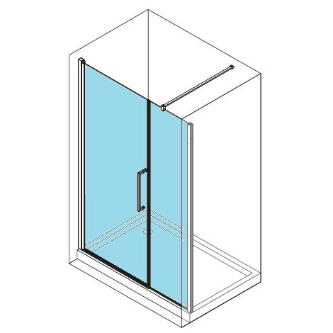 Porte pivotante paroi fixe en alignement young 2 0 g f for Porte de douche avec paroi fixe