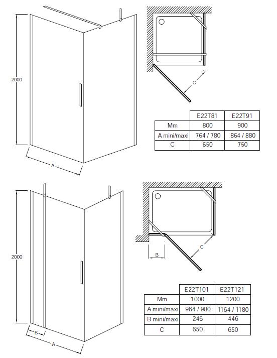 Porte pivotante contra 90cm installer en angle verre for Mecanisme porte pivotante
