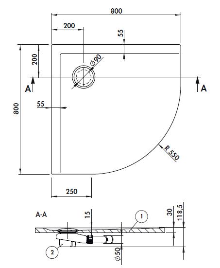 Receveur 1 4 de rond space mineral 80x80 avec traitement for Receveur de douche en beton de synthese