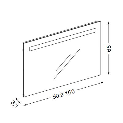 Miroir reflet sens 70x65cm avec clairage led sanijura r f 902052 for Miroir reflet sens 50
