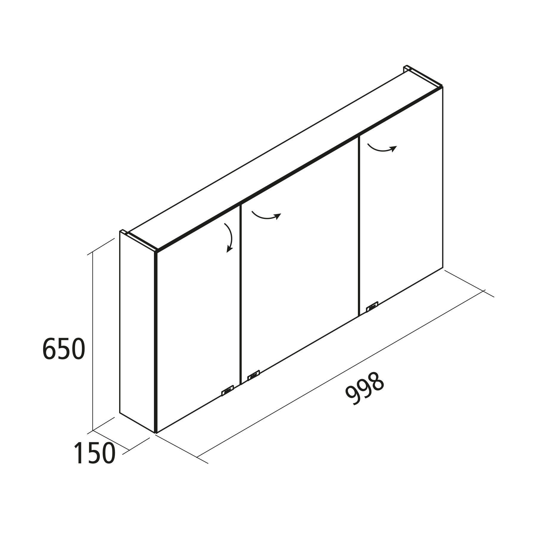 Hauteur Armoire De Toilette armoire de toilette alliance 100x65cm 3 portes miroir double - salgar réf.  24063