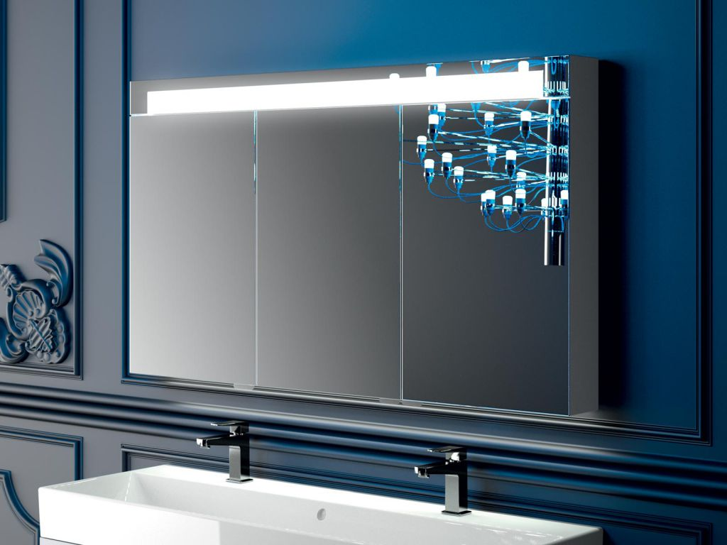 Miroir Salle De Bain 120 Cm armoire de toilette elite 120cm 3 portes miroir / coloris au choix -  decotec réf. 1307021