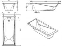 Baignoire acrylique Easy 170x75 Blanc - SANINDUSA Réf. 806900