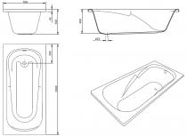 Baignoire acrylique Eva 150x70cm Blanc - SANINDUSA Réf. 800600