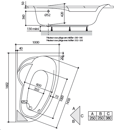 Baignoire asymétrique Ladiva Junior 160x100cm version gauche Toplax Blanc - AQUARINE Réf. 199558