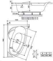 Baignoire asymétrique Ladiva Junior 160x100cm version gauche Toplax Blanc avec tablier - AQUARINE Réf. 198250