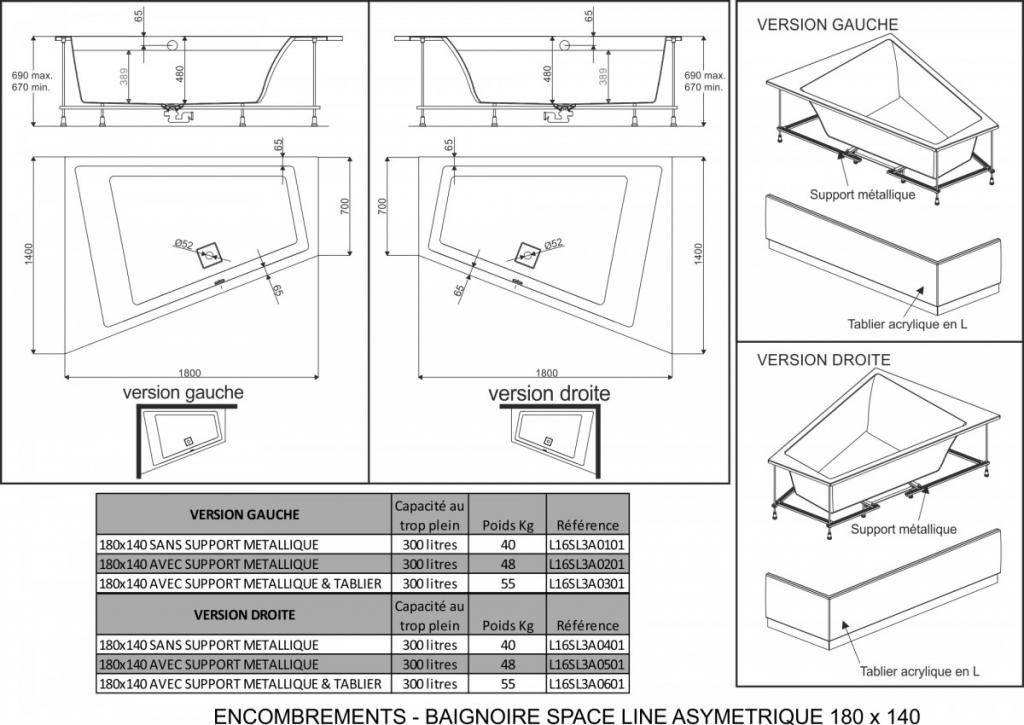 Baignoire asym trique trap zo dale 180x140cm version for Baignoire asymetrique 180