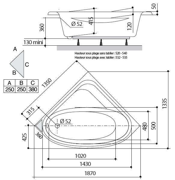hauteur d une baignoire cheap baignoire ergonomique hauteur duadulte avec tuyau de vidange with. Black Bedroom Furniture Sets. Home Design Ideas