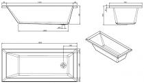 Baignoire rectangulaire Vértice 160x70cm acrylique Blanc - SANINDUSA Réf. 805600