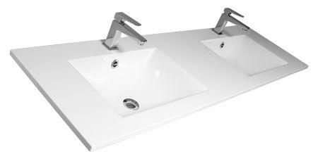 BENTO - Plan double vasque L150 en Céramyl - DECOTEC Réf. 1790451