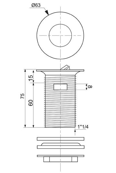 Bonde Lavabo Design à Clapet Rotatif Wirquin Réf 30720504