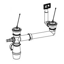 Bonde pour évier 2 cuves Ø70mm - FRANKE Réf. 265915