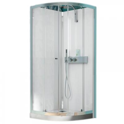 cabine de douche 1 4 de rond eden 90x90 portes coulissantes profil chrom verre transparent. Black Bedroom Furniture Sets. Home Design Ideas