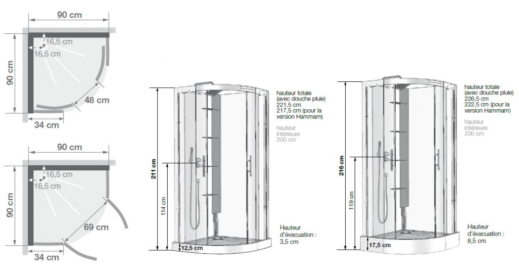 Cabine de douche 1/4 de rond Horizon Receveur faible hauteur Portes ...