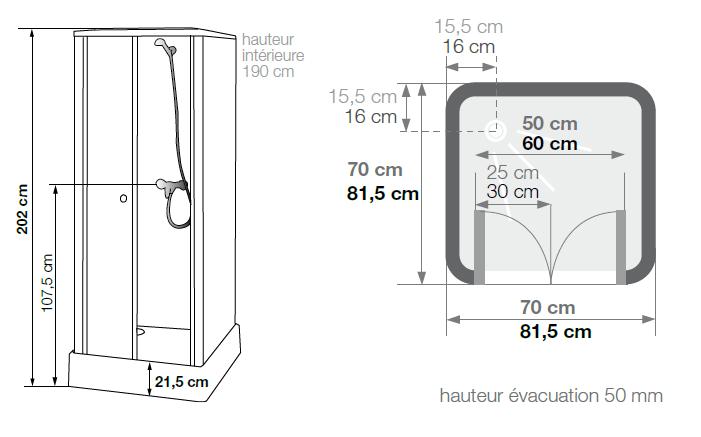 cabine de douche delta 70x70 portes pivotantes kinedo. Black Bedroom Furniture Sets. Home Design Ideas
